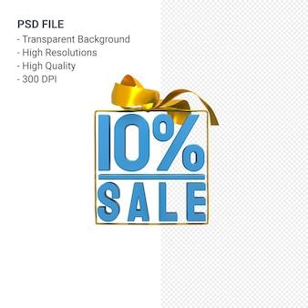 10% de vente avec arc et ruban design 3d isolé