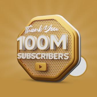 100 millions d'abonnés youtube golden 3d