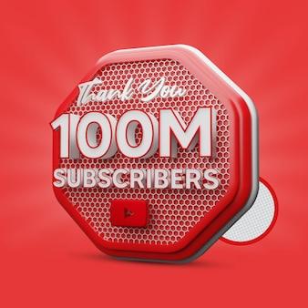 100 millions d'abonnés youtube rendu 3d rouge