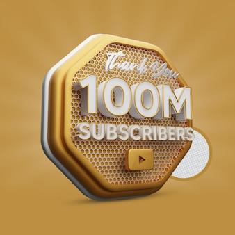 100 millions d'abonnés yt golden 3d render