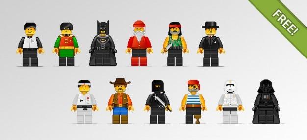 12 caractères lego en style pixel art
