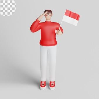 17 août joyeux jour de l'indépendance de l'indonésie avec l'illustration du personnage 3d du jeune homme. psd premium