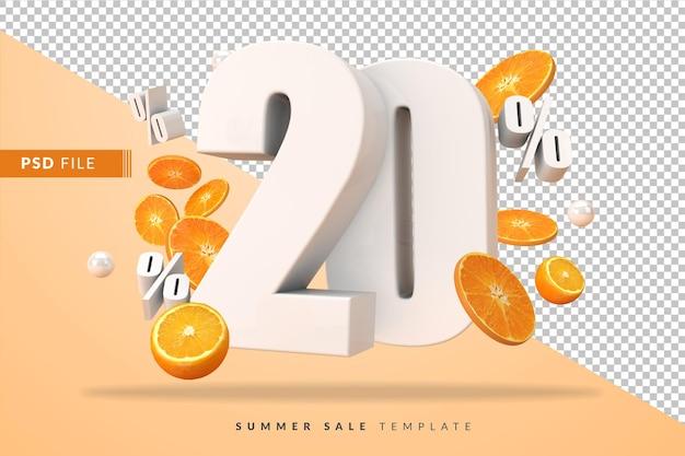 20 pour cent de concept de vente d'été avec des oranges coupées en rendu 3d