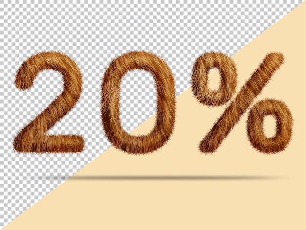 20 pour cent avec de la fourrure 3d réaliste