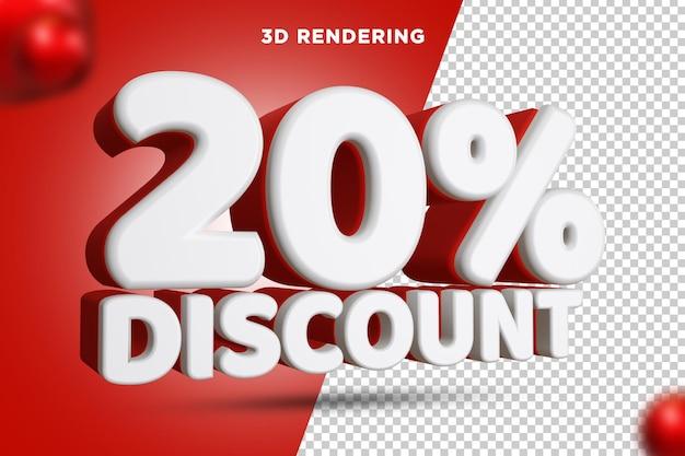 20 pour cent de réduction rendu 3d composition de texte alpha background psd