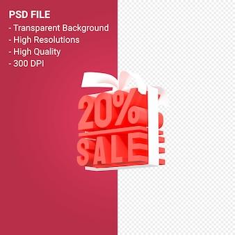 20 pour cent de vente avec arc et ruban design 3d isolé