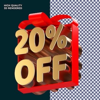 20 % de réduction sur l'emballage de texte avec un ruban rouge rendu 3d concept isolé pour la promotion