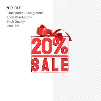 20% de vente avec arc et ruban design 3d isolé