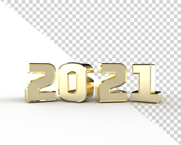2021 nouvel an or 3d render alphabet isolé