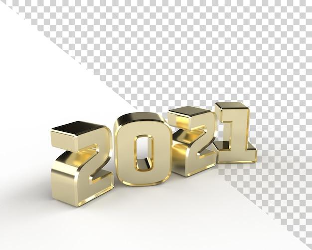 2021 nouvel an or 3d render alphabet objet isolé