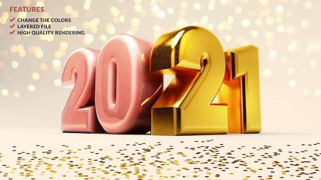 2021 numéros d'or sur fond blanc