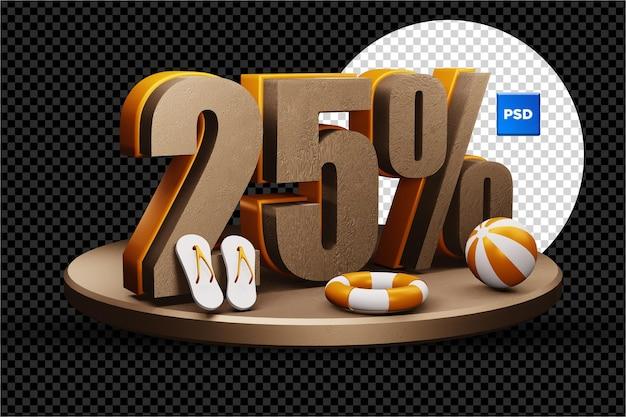 25 pour cent de réduction de vente d'été 3d badge isolé