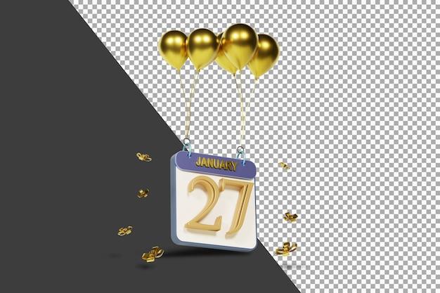 27 janvier du mois du calendrier avec des ballons d'or rendu 3d isolé