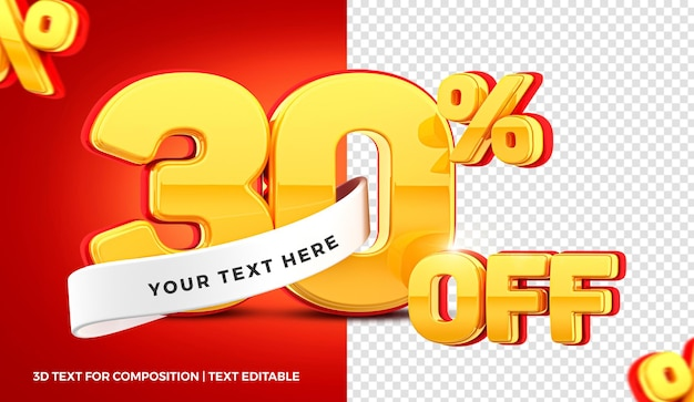 30% d'offre en rendu 3d isolé