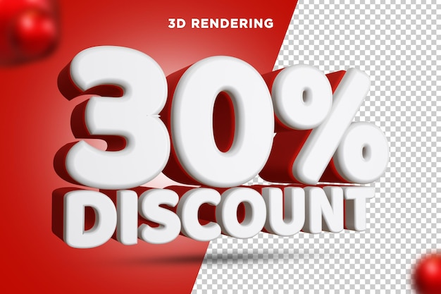 30 pour cent de réduction rendu 3d composition de texte fond alpha psd