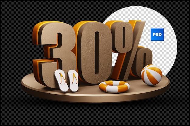 30 pour cent de réduction de vente d'été 3d badge isolé