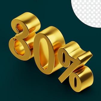 30 pour cent de signe de haute qualité rendu 3d concept isolé