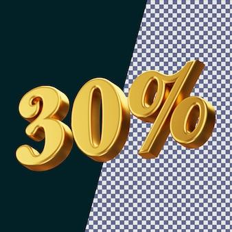 30 pour cent signe rendu 3d isolé