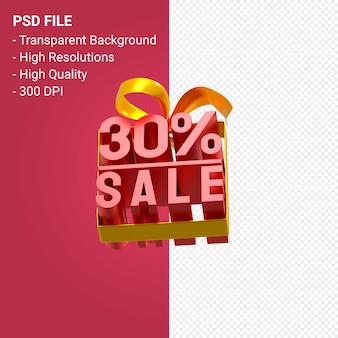 30 pour cent de vente avec arc et ruban design 3d isolé