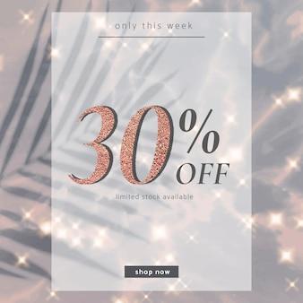30% de réduction sur le modèle de vente psd pour la publication sur les réseaux sociaux
