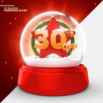 30% de réduction sur l'offre promotionnelle christmas globe 3d render isolated