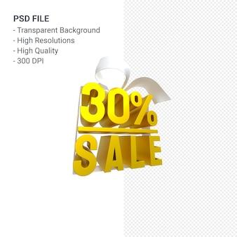 30% de vente avec arc et ruban design 3d isolé