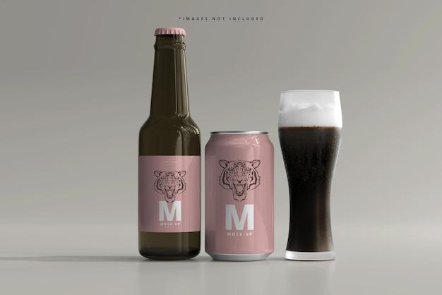 330 ml de soda ou de bière de taille moyenne et maquette de bouteille
