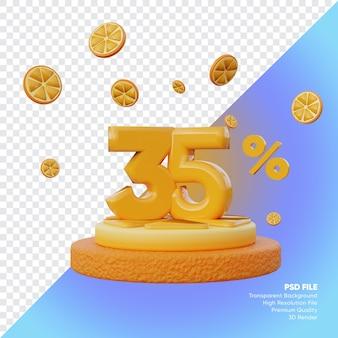 35% concept de vente d'été avec rendu 3d du podium orange tranche