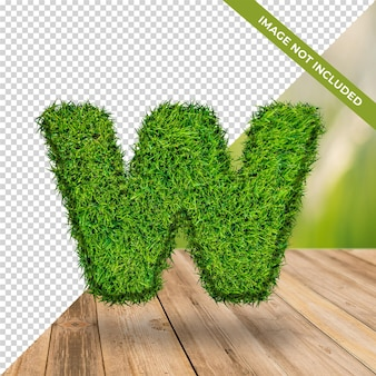 3d alphabet effet herbe w avec fond isolé