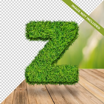 3d alphabet effet herbe z avec fond isolé
