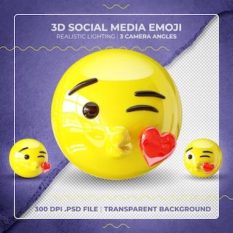 3d, baisers, emoji, isolé