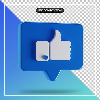 3d brillant comme icône facebook isolé