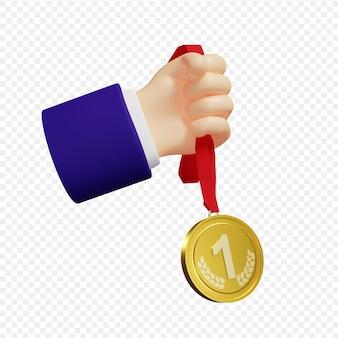 3d businessmans main tenant une médaille d'or premier prix isolé