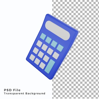 3d calculatrice icône illustration fichiers psd de haute qualité