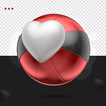3d coeur comme boule rouge noir