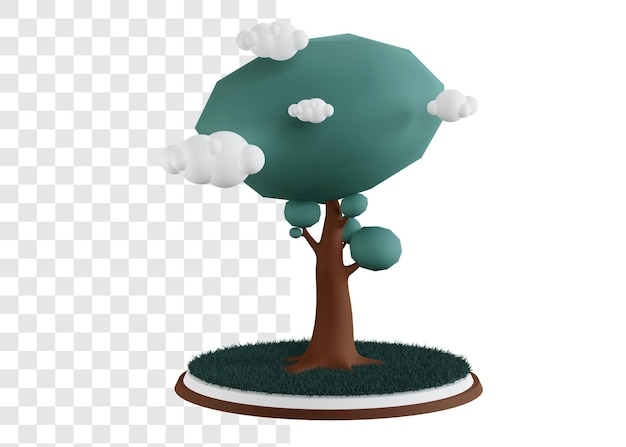 3d, concept, illustration, de, grand arbre, à, herbe