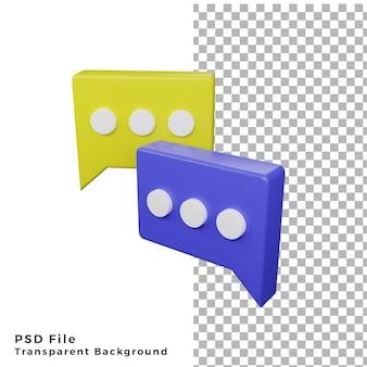 3d cube bulle chat conversation icône rendu de haute qualité fichiers psd