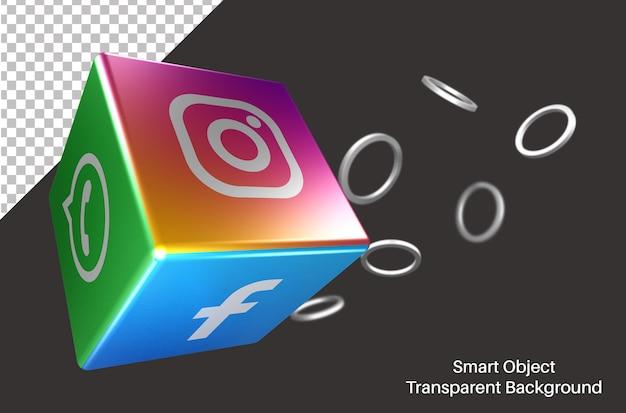 3d cubique avec logo de médias sociaux instagram