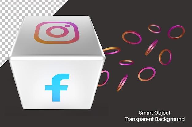 3d cubique avec logo de médias sociaux