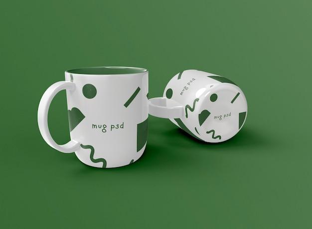 3d deux tasses à café