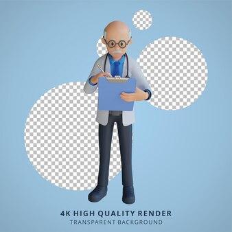 3d, docteur senior, tenue, a, échiquier, caractère, illustration