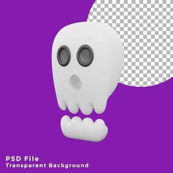 3d effrayant crâne halloween actif icône design illustration haute qualité
