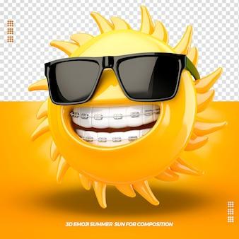 3d emoji avec des lunettes droit et appareil dentaire isolé isolé