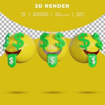 3d emoji médias sociaux face à l'argent rendu orienté dollar