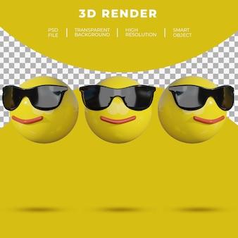 3d, emoji, médias sociaux, visage, gai, sourire, lunettes soleil, rendu