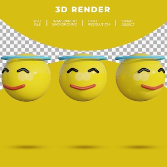 3d emoji médias sociaux visage sourire gai rendu halo