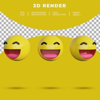 3d, emoji, médias sociaux, visage, sourire gai, rendu