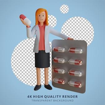 3d female doctor transportait des médicaments dans l'illustration du personnage de la capsule de la tablette