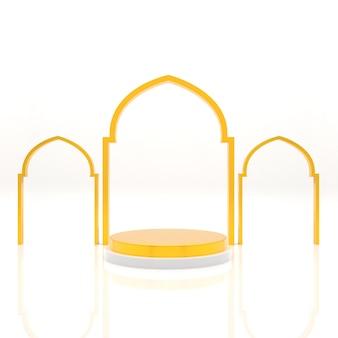 3d, fond islamique, podium, affichage, rendu réaliste