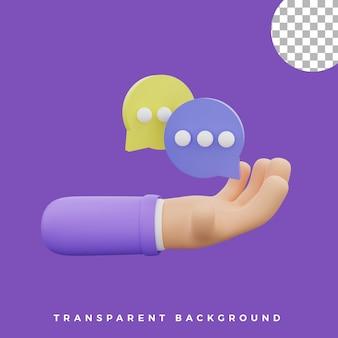 3d, geste main, illustration, bulle, chat, icône, isolé, actifs, haute qualité